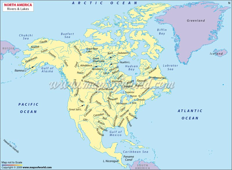 Map Of North America With Rivers And Lakes.Map Shows The Major Lakes And Rivers In Northamerica