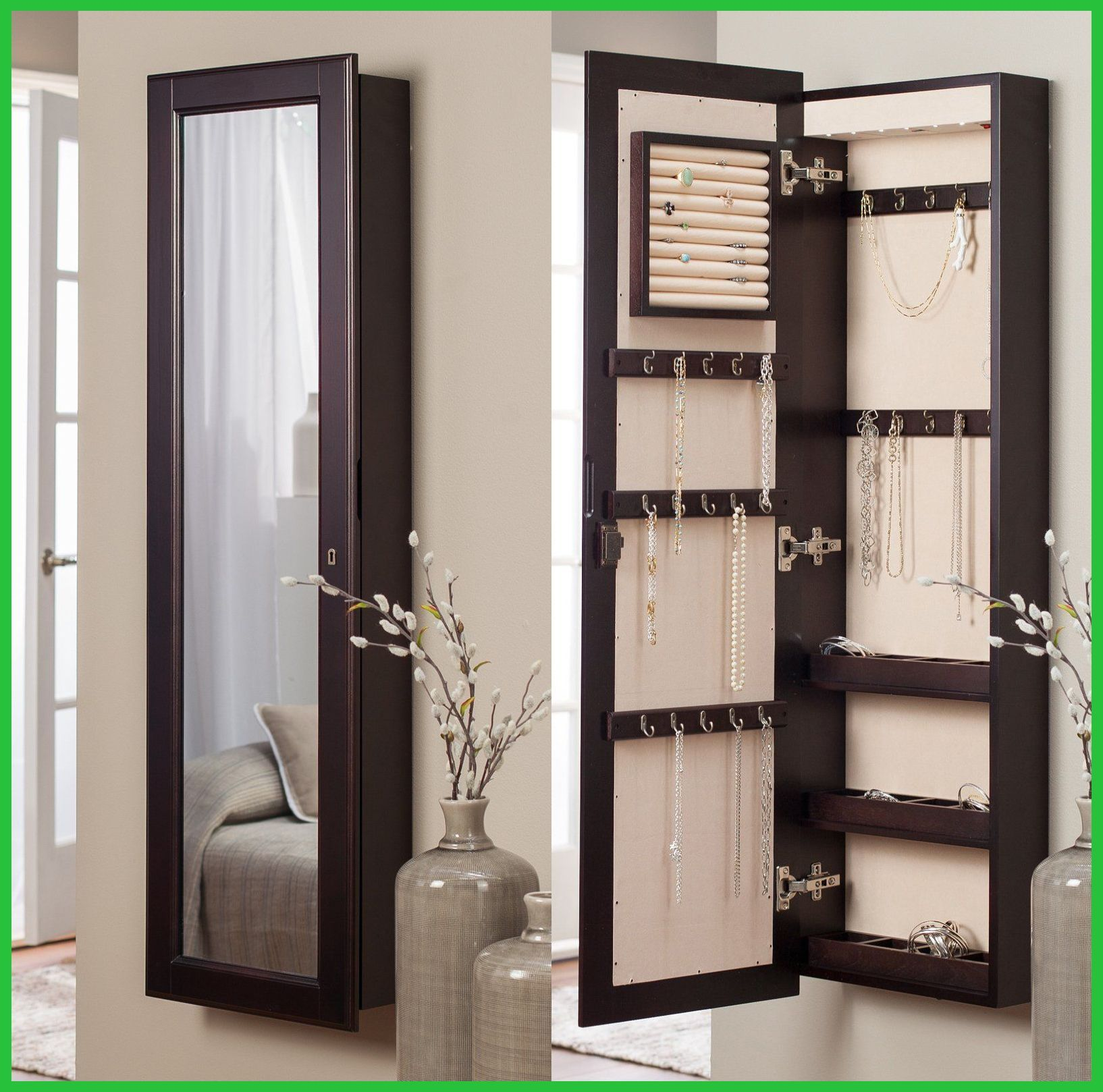 Jewelry Armoires Belham Living Hollywood Mirrored Locking Wall