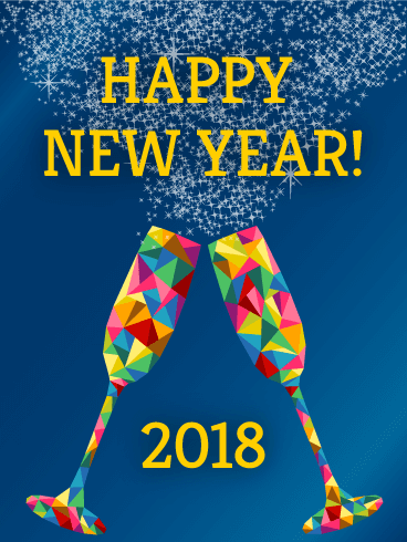 rainbow glass happy new year card 2018 bedazzle everyones 2018 each facet of these champagne classes refract a different color a different memory of all