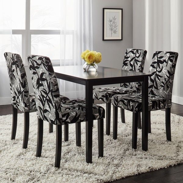 Simple Living Parson Black And Silver 5 Piece Dining Table Chairs Set