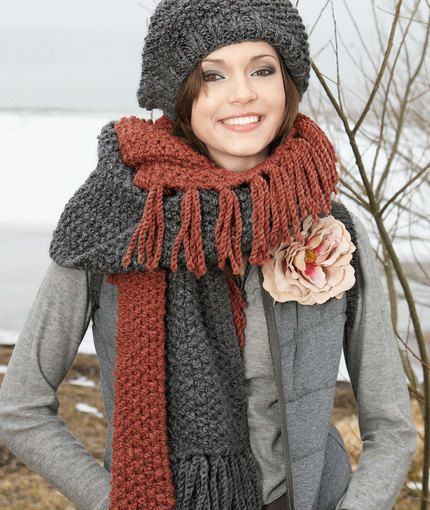 Fringed Hat And Scarf Knitting Pattern Red Heart Knit Scarf