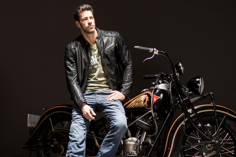Difi Bonneville Mens Leather Motorcycle Jacket. Retro ...