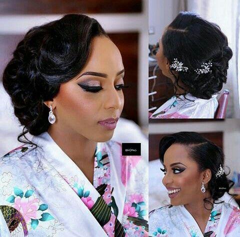 Pin By Signature Bride On A Nigerian Wedding Bridal Hair Updo Black Wedding Hairstyles Bridal Hair And Makeup