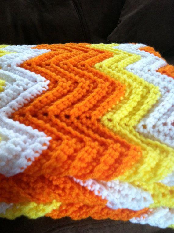Candy Corn Blanket! Halloween Ripple crochet baby afghan by ...