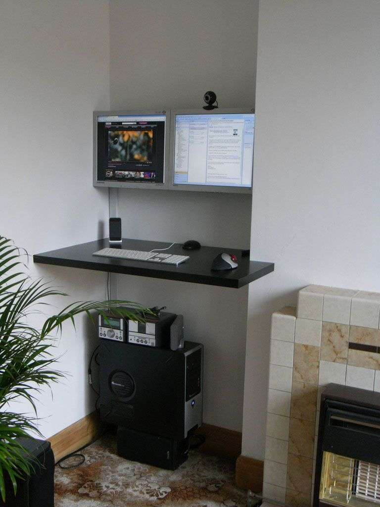 Stick Your Desk In A Corner With Lots Of Monitors Desk In Living Room Standing Desk Office Diy Standing Desk