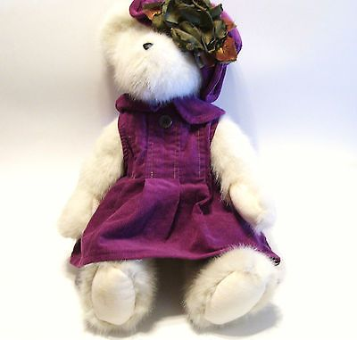 2004 Boyds Teddy Bear Jointed Plush 16.5 inches tall Purple Dress and Hat Autumn
