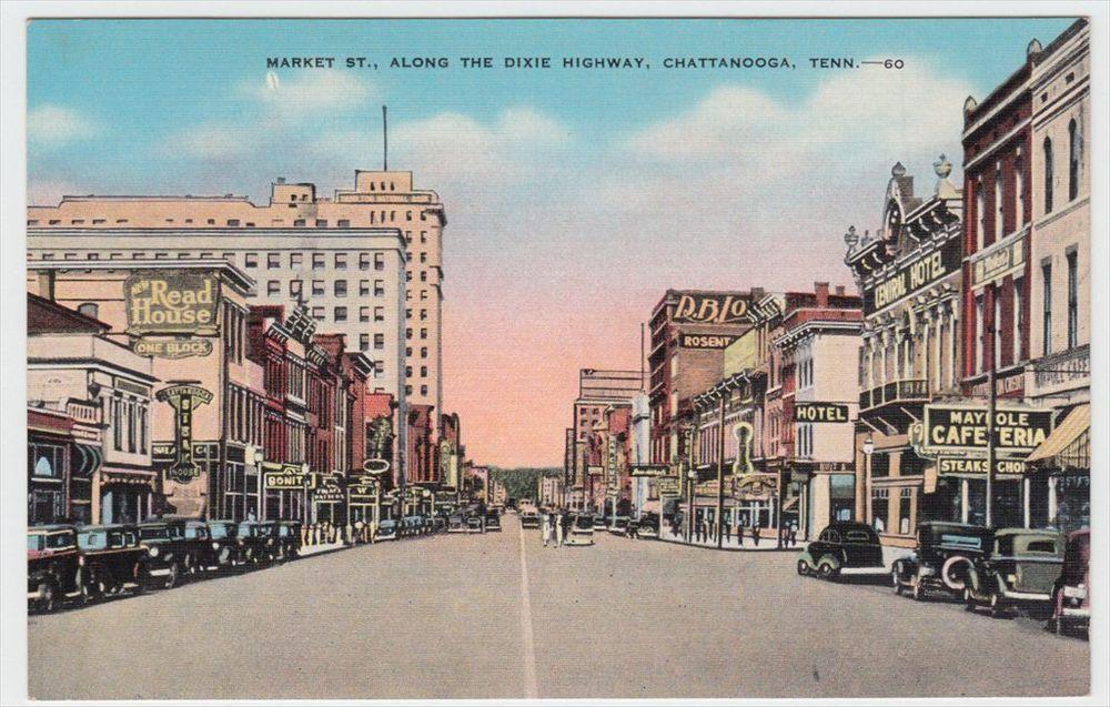 Chattanooga TN Market STreet Linen Postcard