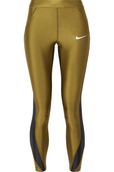 d1f4d063eb3ec Nike - Speed cropped paneled metallic Dri-FIT stretch leggings ...