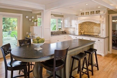 kitchen island shape | Kitchen Islands with Seating - interesting seating -  seating for 3+