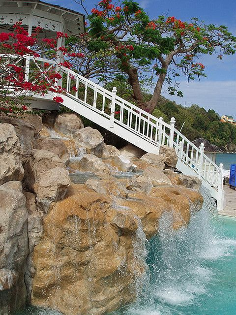 Waterfall and Gazebo at Sandals Resort, St. Lucia.