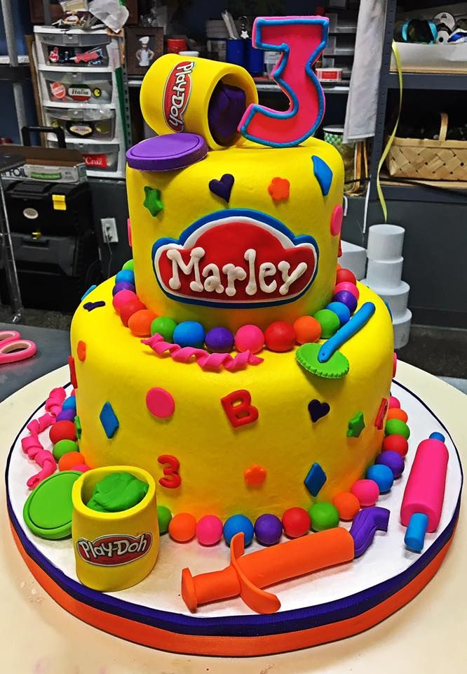 Terrific Play Doh Birthday Cake Adrienne Co Bakery With Images Personalised Birthday Cards Veneteletsinfo