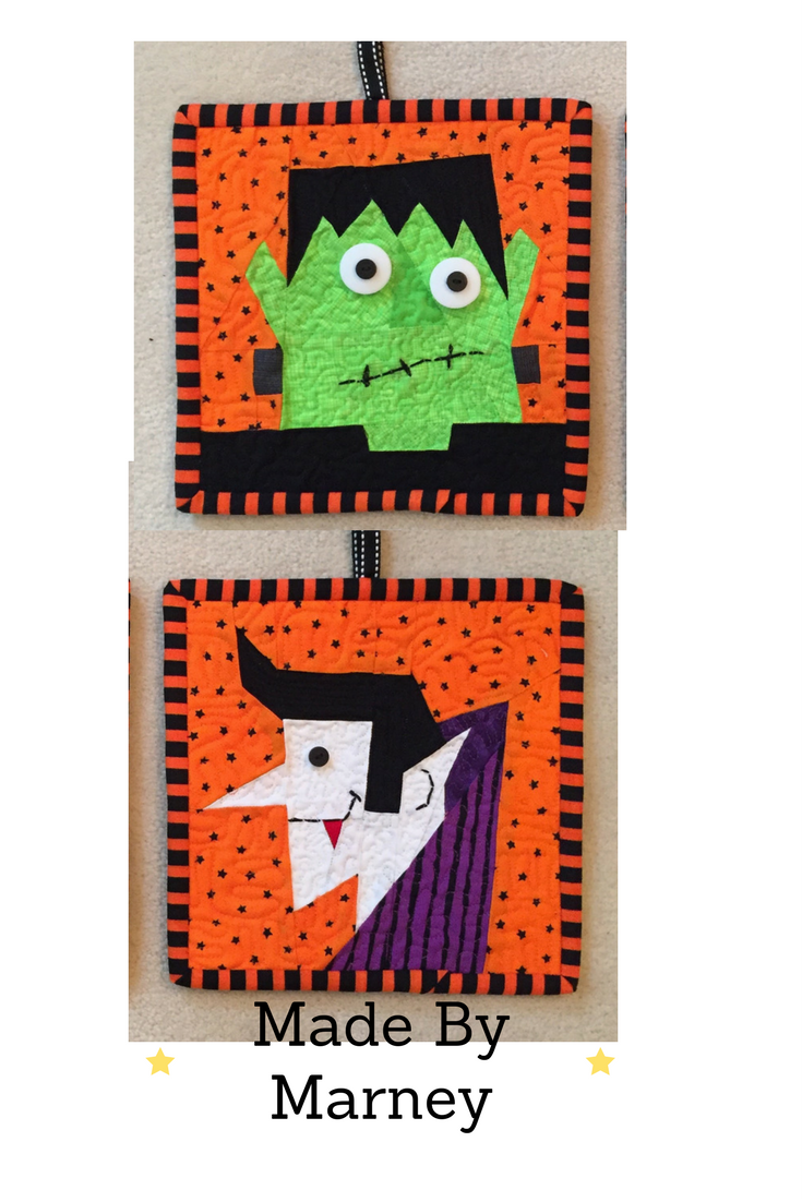 1b36ec543f2 FREE paper pieced patterns from madebymarney.com. These adorable  Frankenstein and Count Dracula patterns can be found on Etsy and Craftsy.