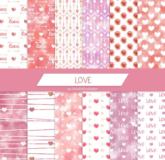 Love digital paper, valentine's day paper, arrows hearts pattern, romantic paper, valentine decorations, watercolor background, love text by GiuliaBelfioriGadget