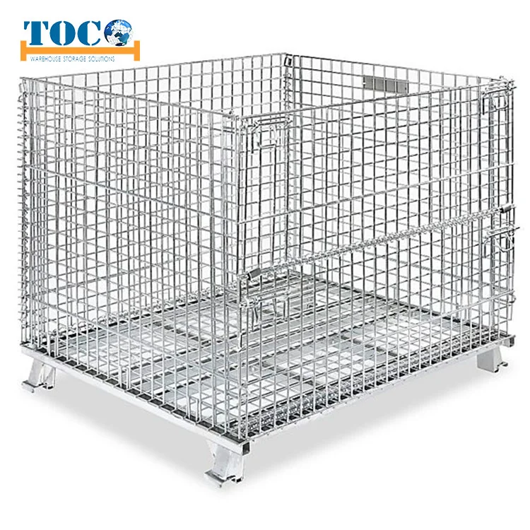 Hot Item Foldable Collapsible Stackable Warehouse Storage Steel Metal Wire Mesh Roll Cage Container Wire Mesh Metal Wire Steel Metal