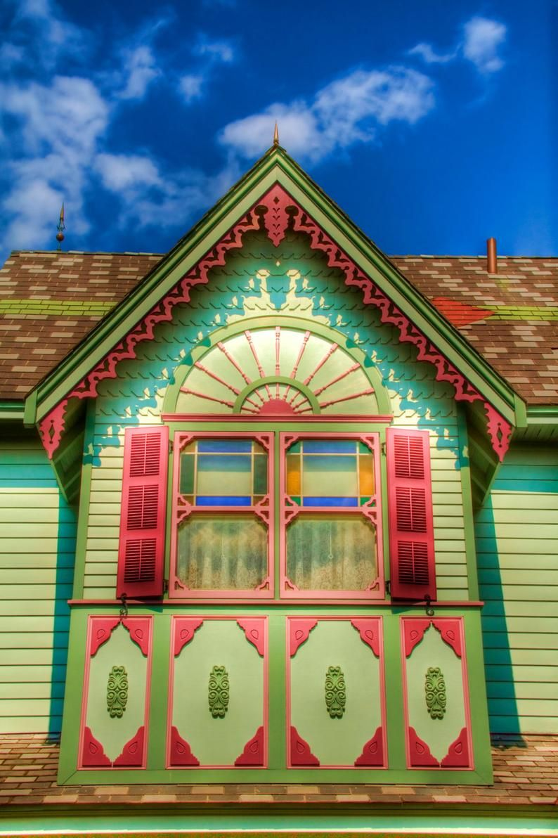 Cape May Window and Roof, Color Photography, Victorian Architecture, Pink and Green, HDR, Blue Sky,