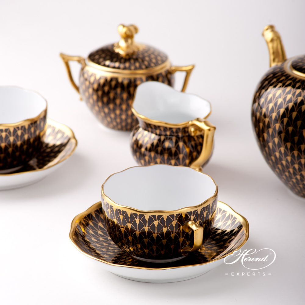 Tea Set for 2 Persons - Gold Fish Scale | Herend Experts #teasets