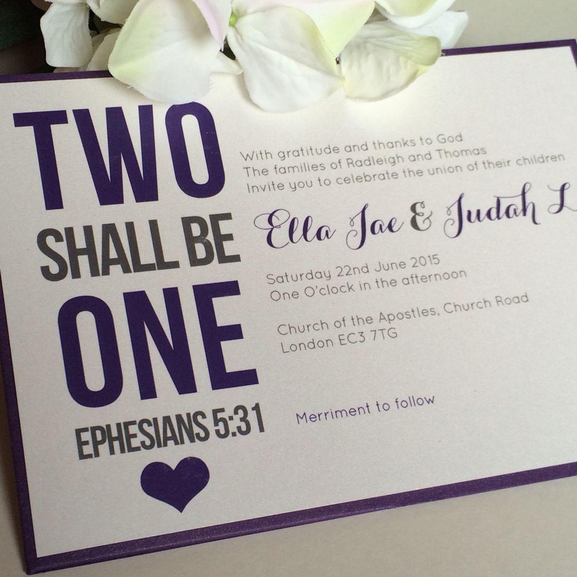 Two Shall Be One Christian Wedding Invitations Weddinginvitations Christianwedding: Thanks Wedding Invitation Ideas At Websimilar.org