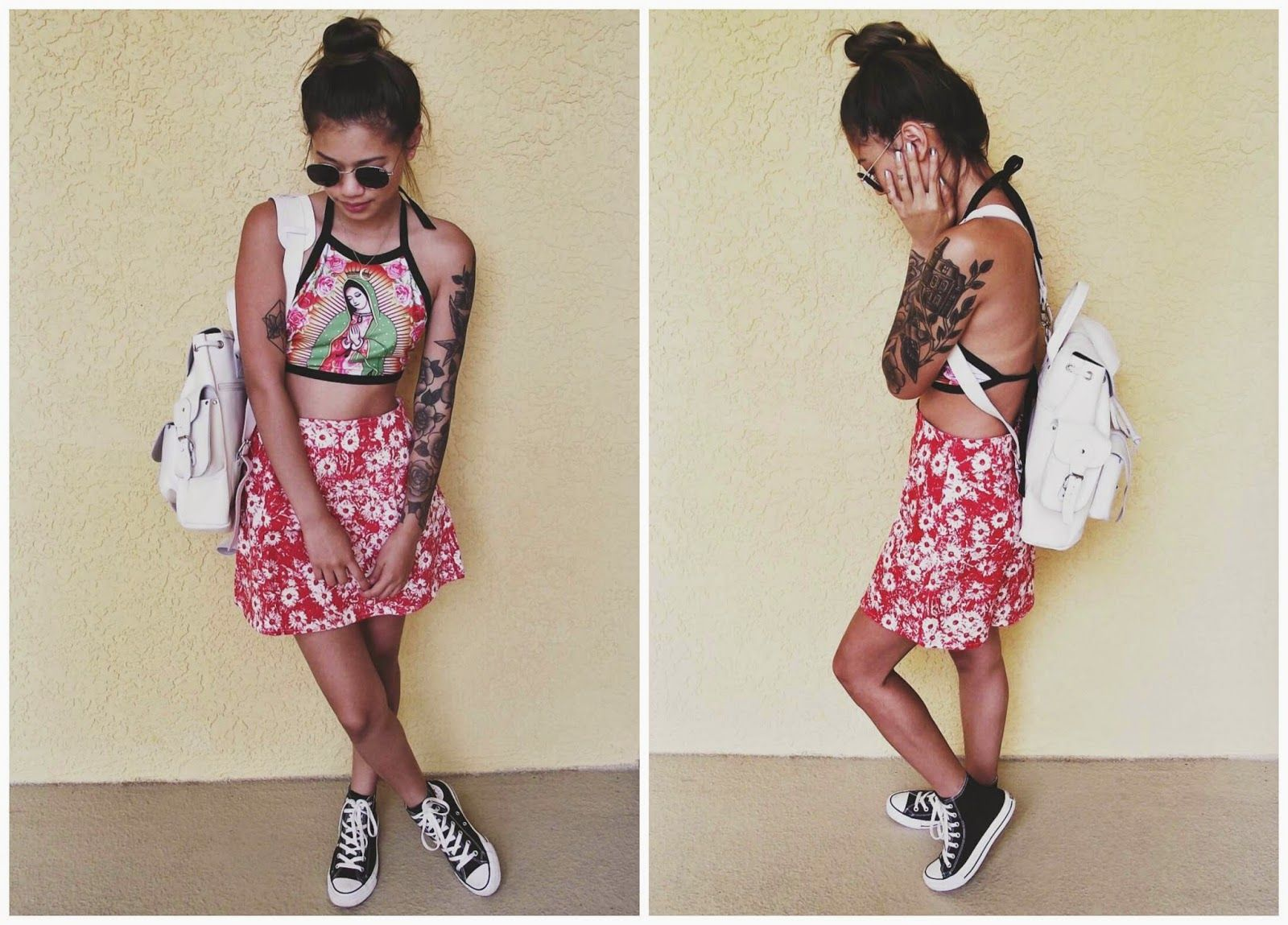 Summer Holiday Outfit Idea - Printed Crop Top, Floral Skater Skirt, Converse Sneakers