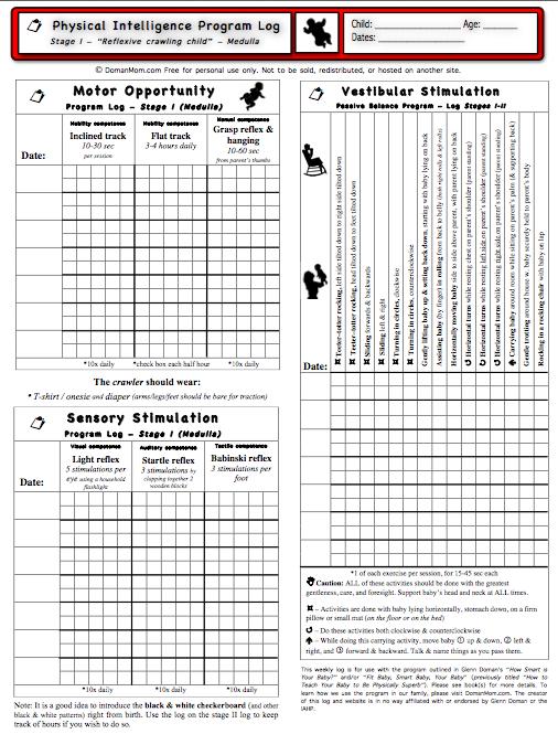 Updated Program Logs for Glenn Doman Physical (Motor and