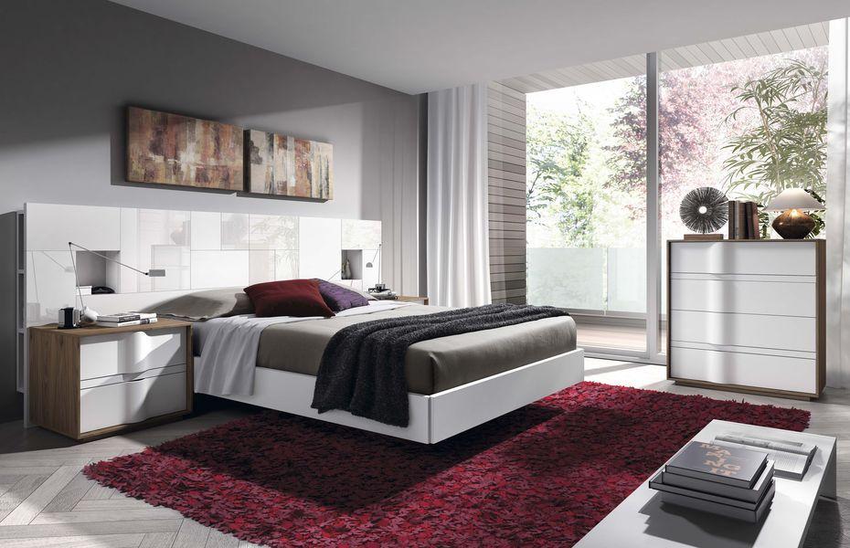 ambiente a06 cabezal m juego de texturas e interesante zona de almacenaje a modo de estantera - Habitacion Matrimonio Moderna