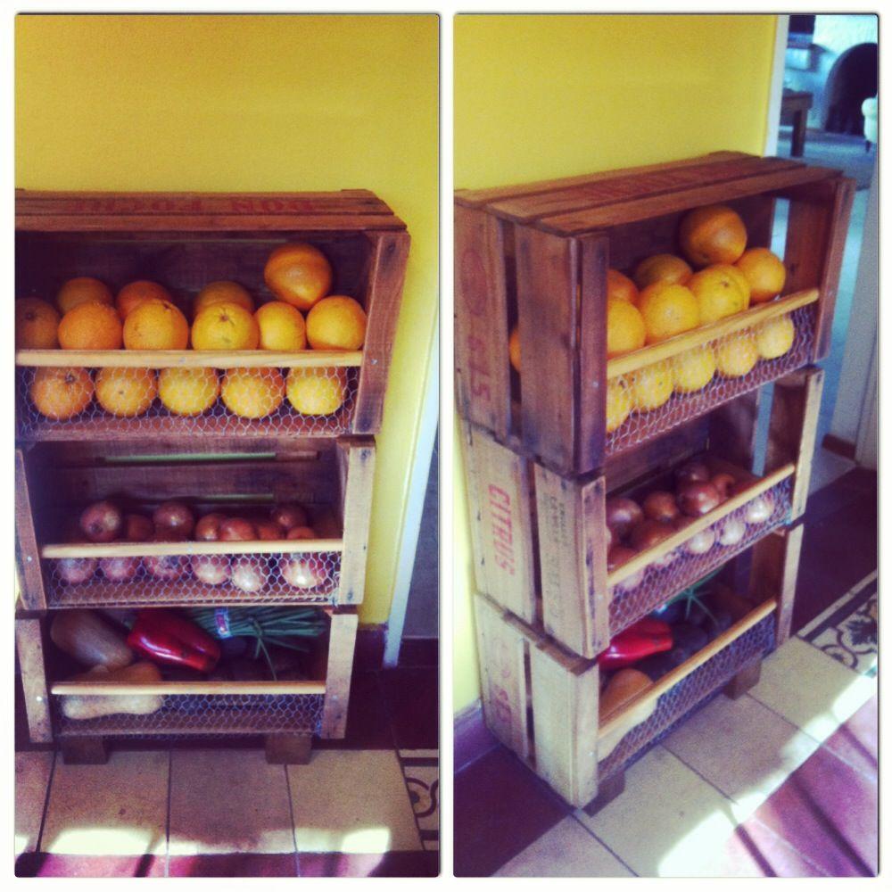 Canasto para frutas hecho con cajones de verduler a home pinterest - Cajones de fruta de madera ...