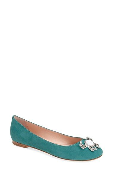 347ab30accaa Free shipping and returns on kate spade new york  wanda  skimmer flat (Women)  at Nordstrom.com. With its crystal-encrusted crab appliqué and nubuck  leather ...