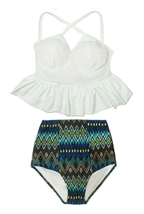 874116ff247f5 White Long Peplum X Cross Strap Top and Aztec Tribal Tribute High waist  waisted Bottom Pinup Swimsuit Swimwear Bikini Bathing suit S M L XL
