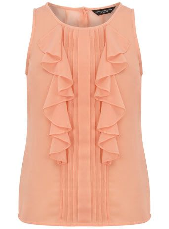 Peach frill shell top