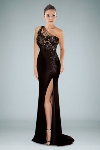 oneshoulder-evening-dress-featuring-side-slit-with-beaded ...