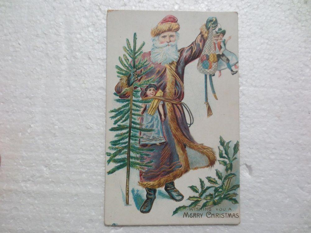 GERMAN EMBOSSED BELSNICKLE SANTA CLAUS POSTCARD PURPLE ROBE DOLLS FEATHER TREE