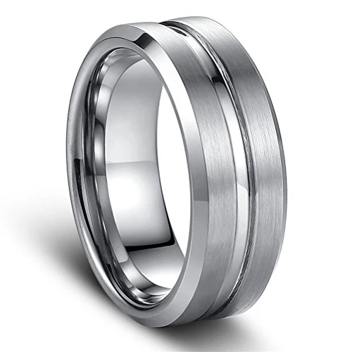 Tungsten Matte Finished Wedding Engagement Bridal Band Shiny Center Groove Ring