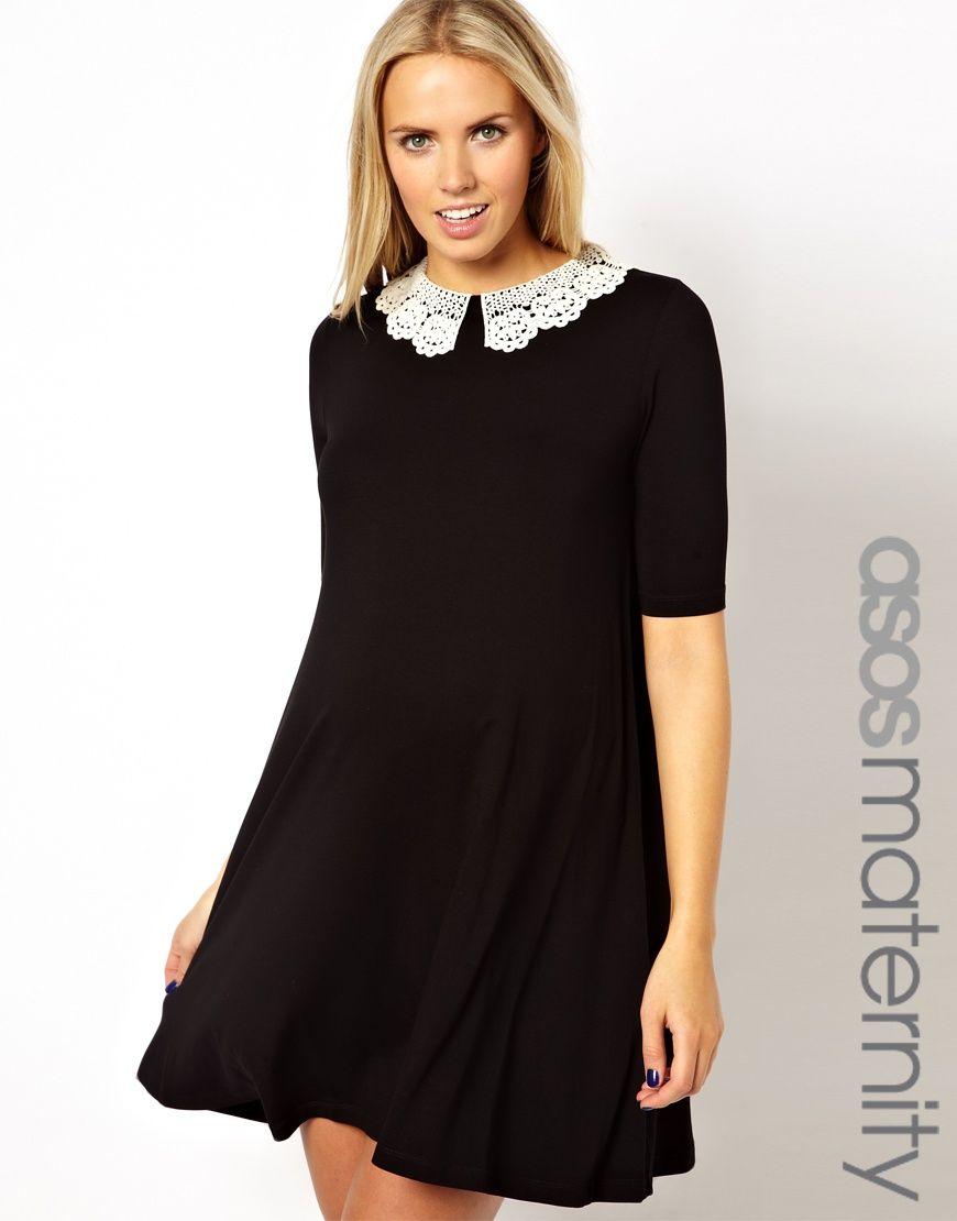 5786ef6624ea4 ASOS Maternity | ASOS Maternity Exclusive Swing Dress With Crochet Collar  at ASOS