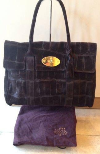 Mulberry Bayswater Croc Print Suede Bag in Chocolate Brown 68a5da79f3110
