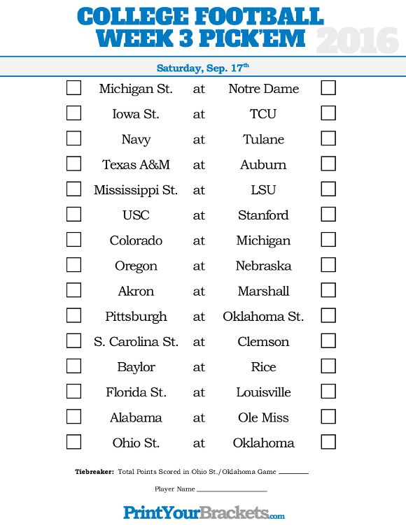 Week 3 College Football Picku0027em Sheet College Football Picku0027em - football pool template