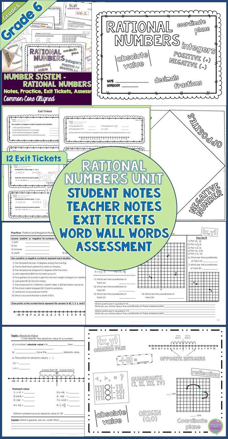 Fresh Ideas - Rational Numbers Unit for Grade 6 Math Rational numbers