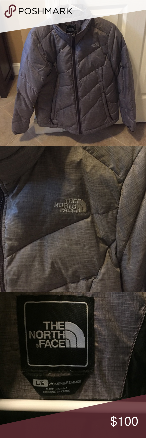 The North Face Women's Synthetic Down Jacket Super cute synthetic puffy jacket. Elegant purple/gray color. EUC The North Face Jackets & Coats Puffers