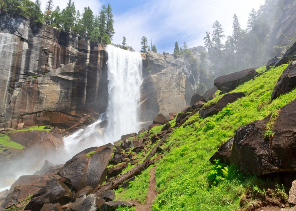 Vernal Fall, Yosemite National Park puzzle in Piece of Art jigsaw puzzles on TheJigsawPuzzles.com. Play full screen, enjoy Puzzle of the Day and thousands more.
