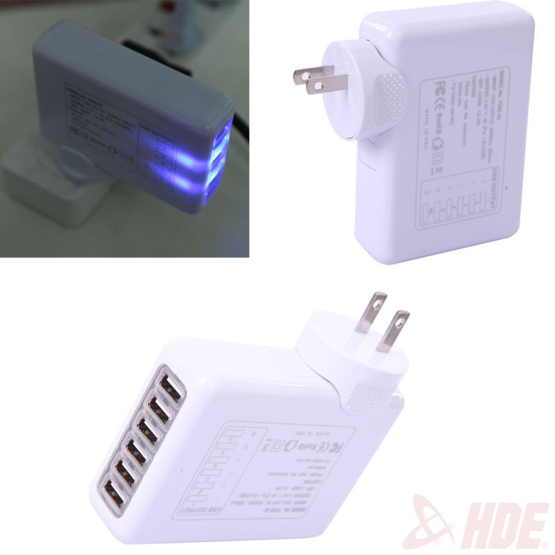 White 4A 6-Port USB Portable Travel AC Plug US Home Wall Power Adapter Charger #ad