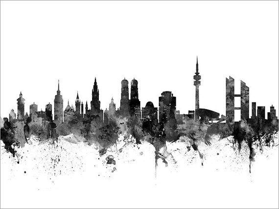 Munchen Skyline Munchen Deutschland Cityscape Art Print 2662 Cityscape Art Skyline Canvas Art