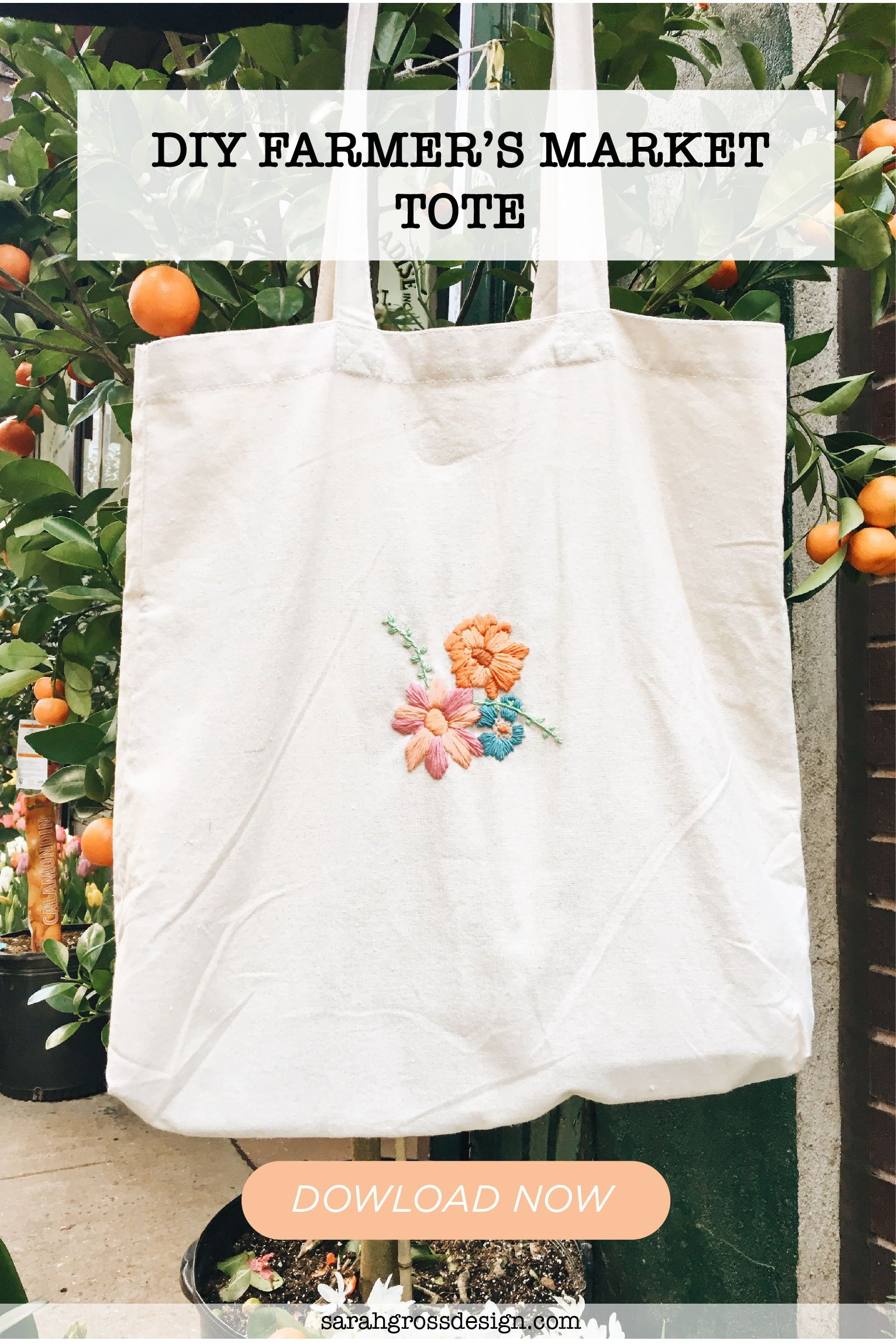 Hand Embroidered Oranges and Leaves Tote bag