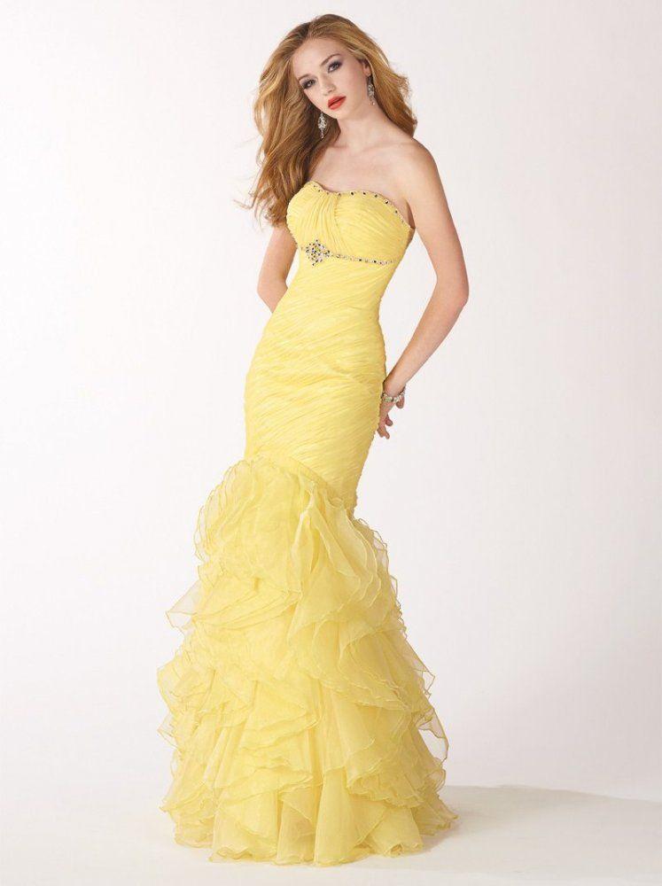Mermaid Strapless Pleated Bodice Chiffon Prom Dress-sop0009, $239.95 ...