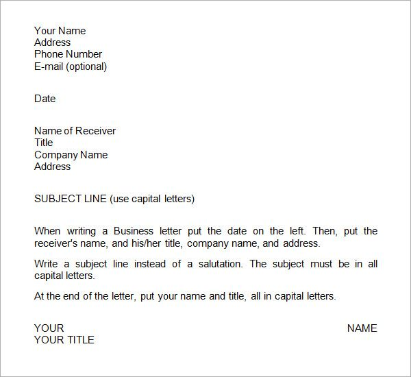 Sample Business Letter Format Templates Free Download The Best