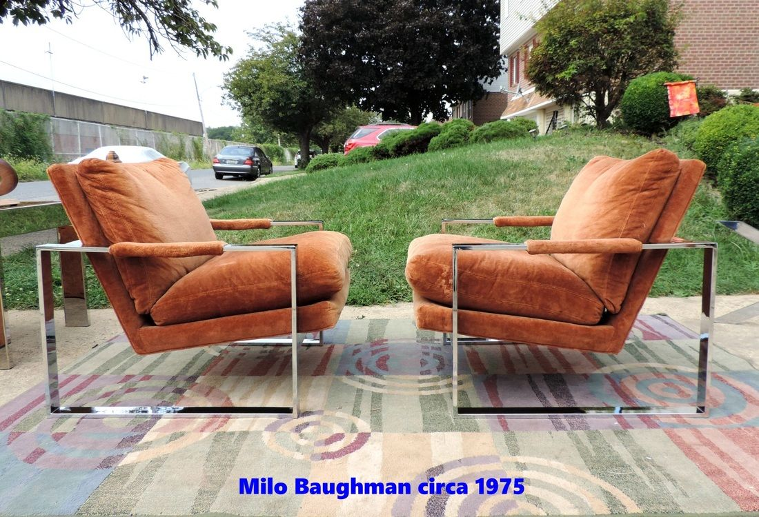 AUTHENTIC MILO BAUGHMAN CHROME LOUNGE CHAIRS WITH LABEL THAYER COGGIN MILO  BAUGHMAN