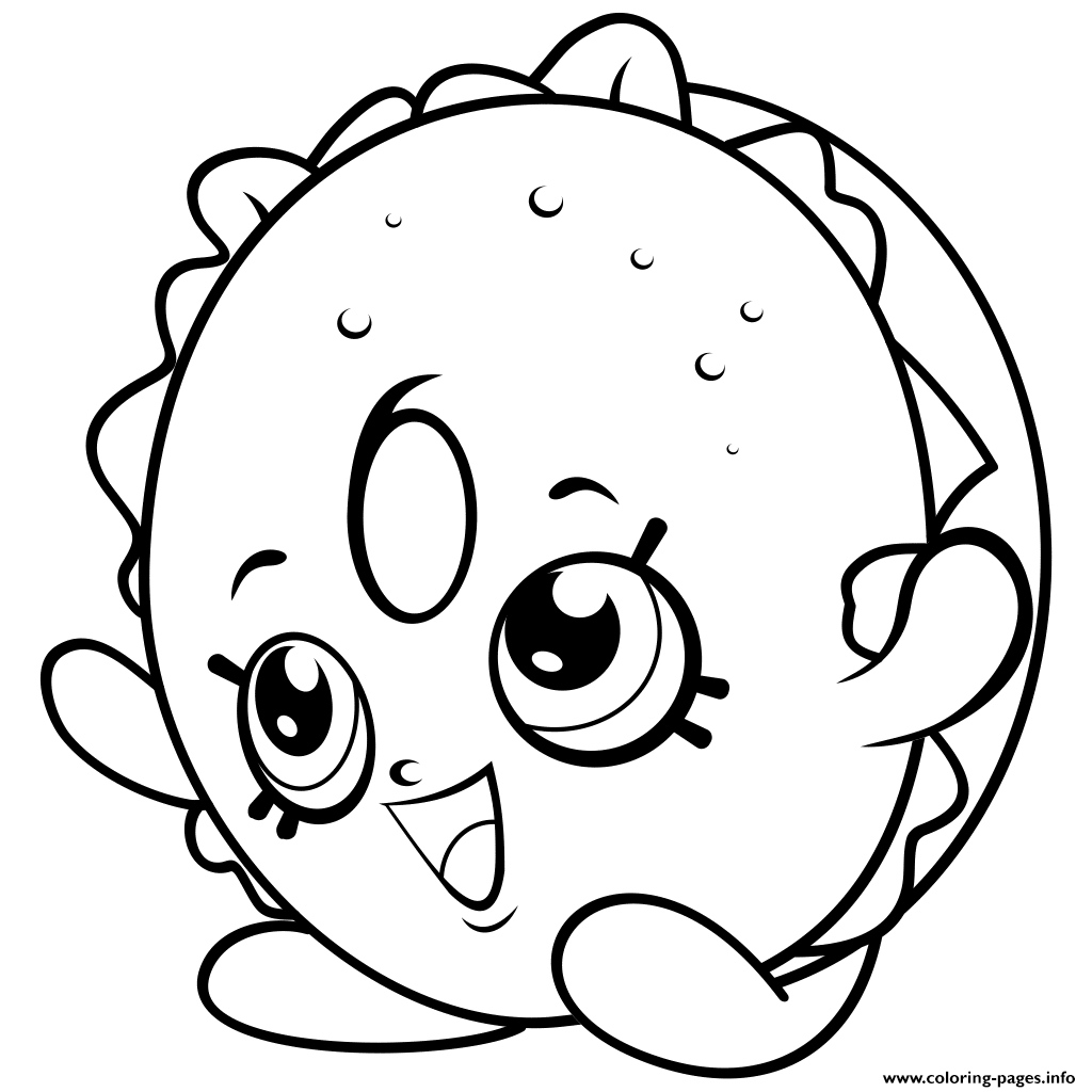 Print bagel sandwiches shopkins season 4 coloring pages Shopkins coloring pages free printable