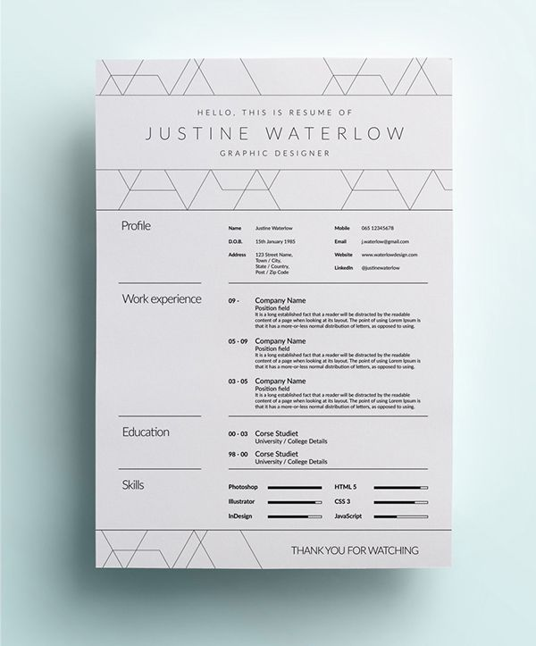 Graphic Design Resume Example With Whitespace  Self Promo