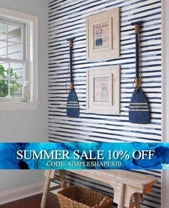 Watercolor Stripes Blue Peel Stick Fabric Wallpaper Repositionable House Interior Beach House Interior Home Decor