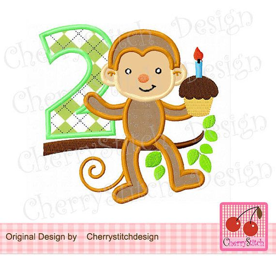 Birthday Moneky with number 2Digital by CherryStitchDesign on Etsy, $2.99