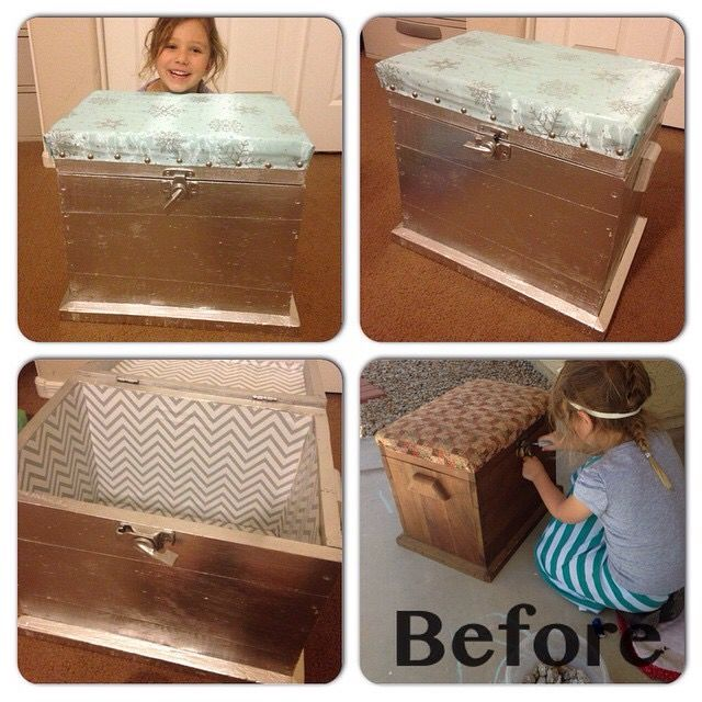 DIY toy chest make over. Queen Elsa. Metallic spray paint. Drawer liners. Snowflake fabric cushion.