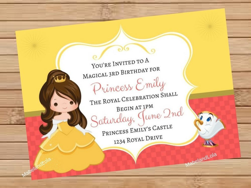 Princess Belle Birthday Party Invitation Personalized Beauty Beast ...