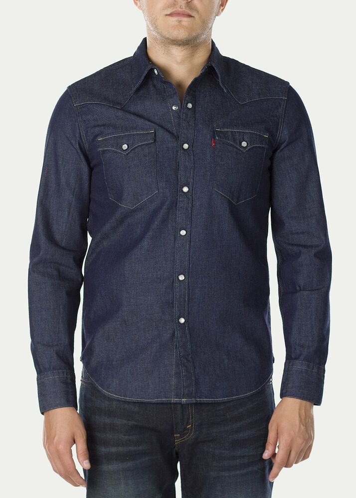 c44c959eeb New Levi s Mens 65816 Long Sleeve Barstow Cone Denim Pearl Snap Down Shirt  Large  Levis